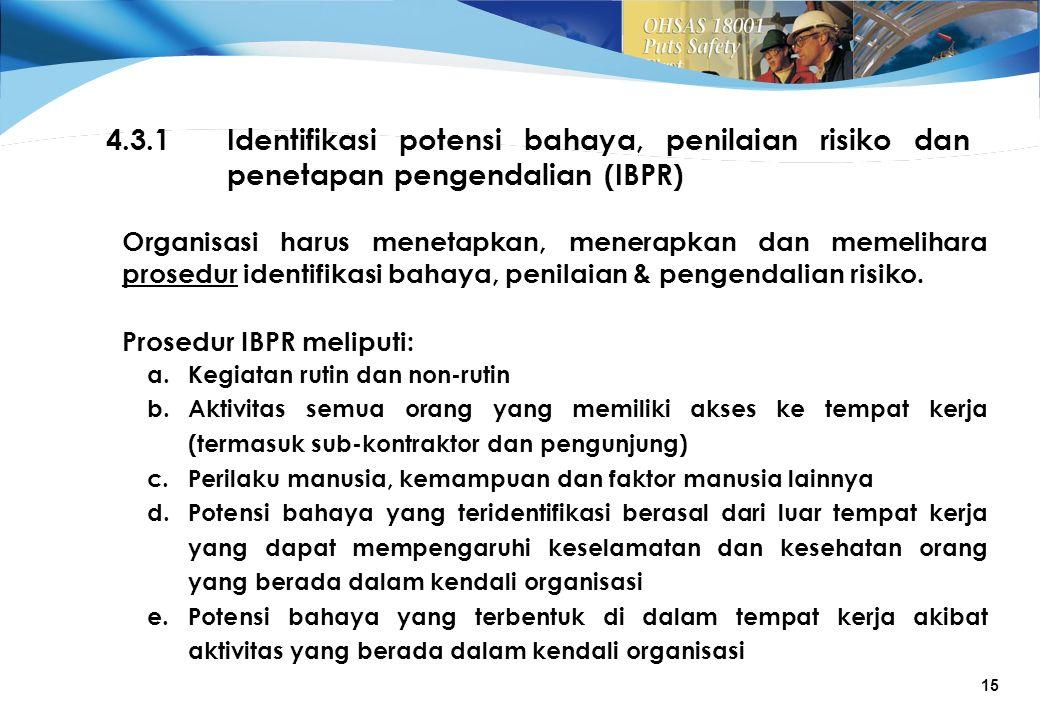 4.3.1 Identifikasi potensi bahaya, penilaian risiko dan penetapan pengendalian (IBPR)