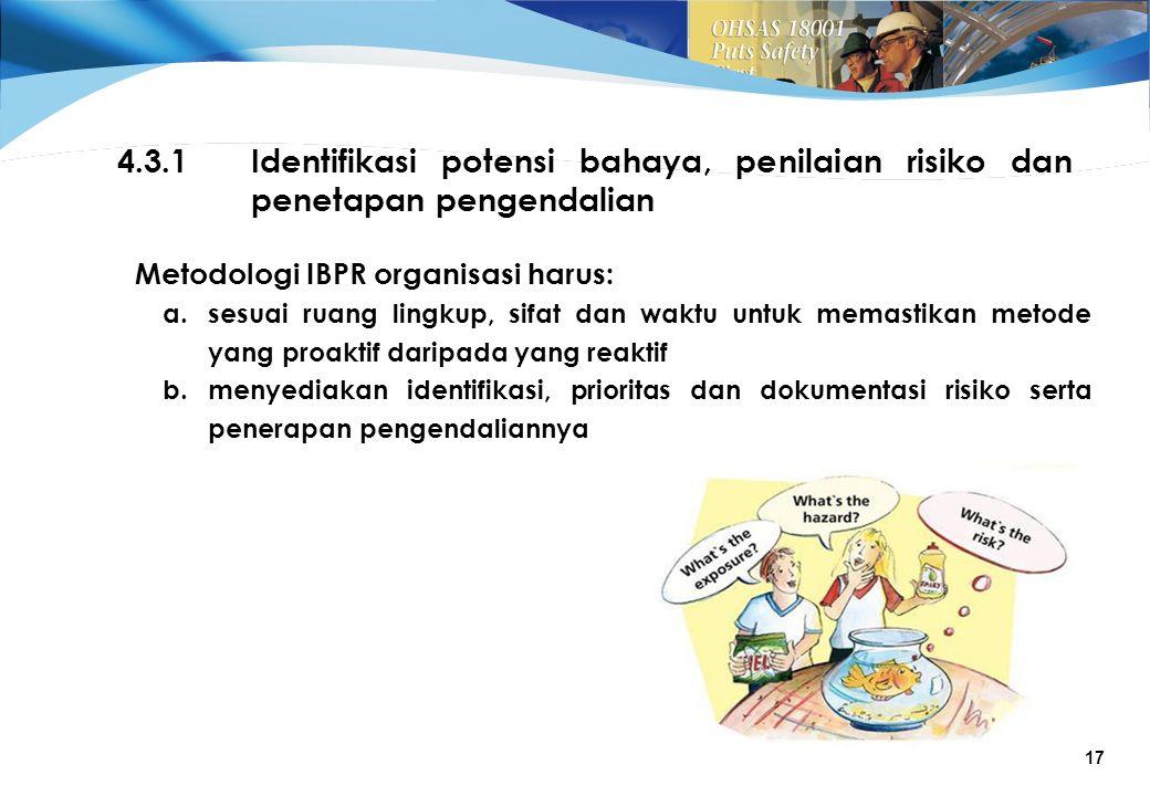 4.3.1 Identifikasi potensi bahaya, penilaian risiko dan penetapan pengendalian. Metodologi IBPR organisasi harus: