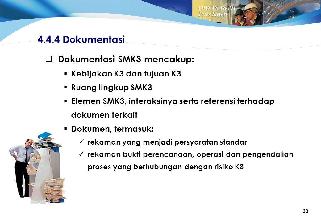 4.4.4 Dokumentasi Dokumentasi SMK3 mencakup: