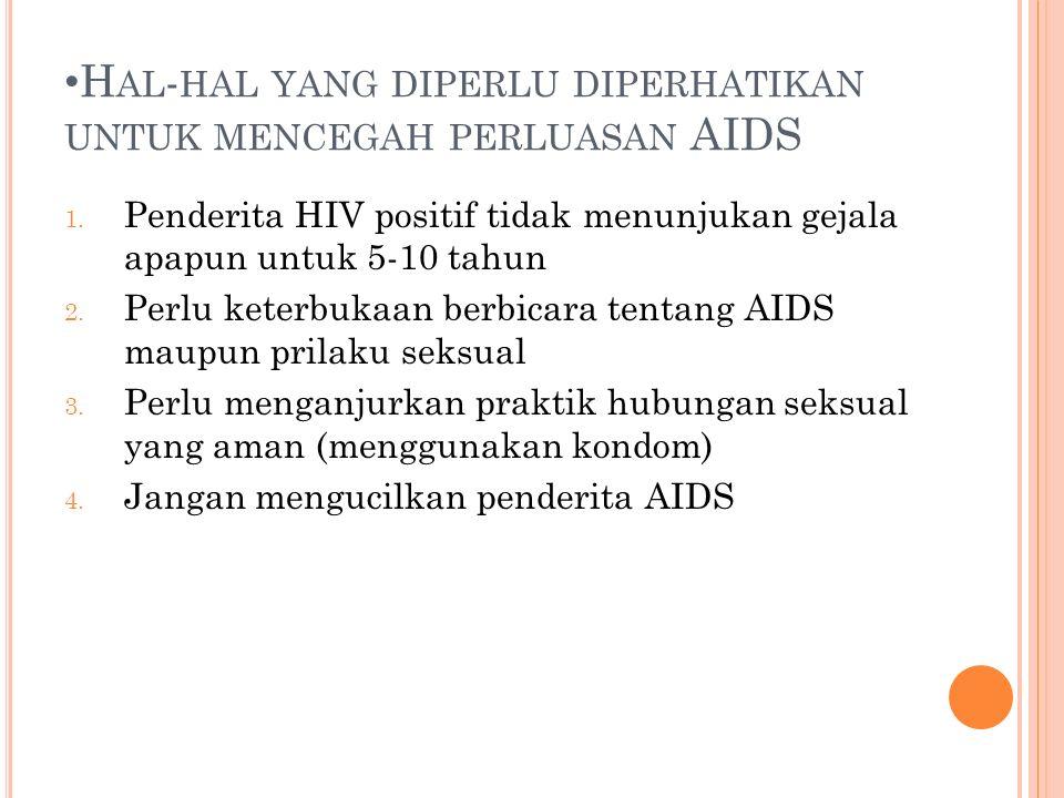 Hal-hal yang diperlu diperhatikan untuk mencegah perluasan AIDS