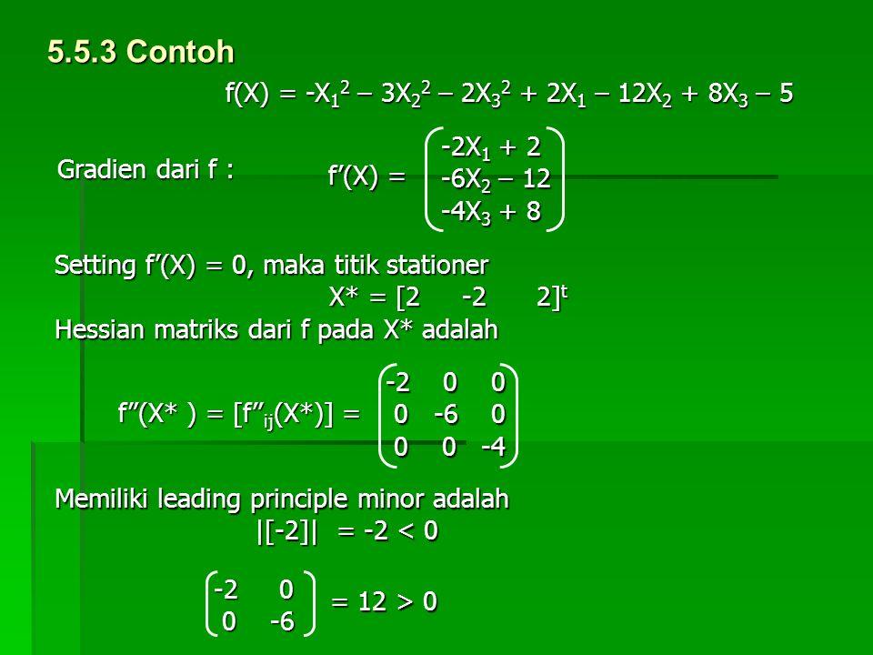 5.5.3 Contoh f(X) = -X12 – 3X22 – 2X32 + 2X1 – 12X2 + 8X3 – 5 -2X1 + 2