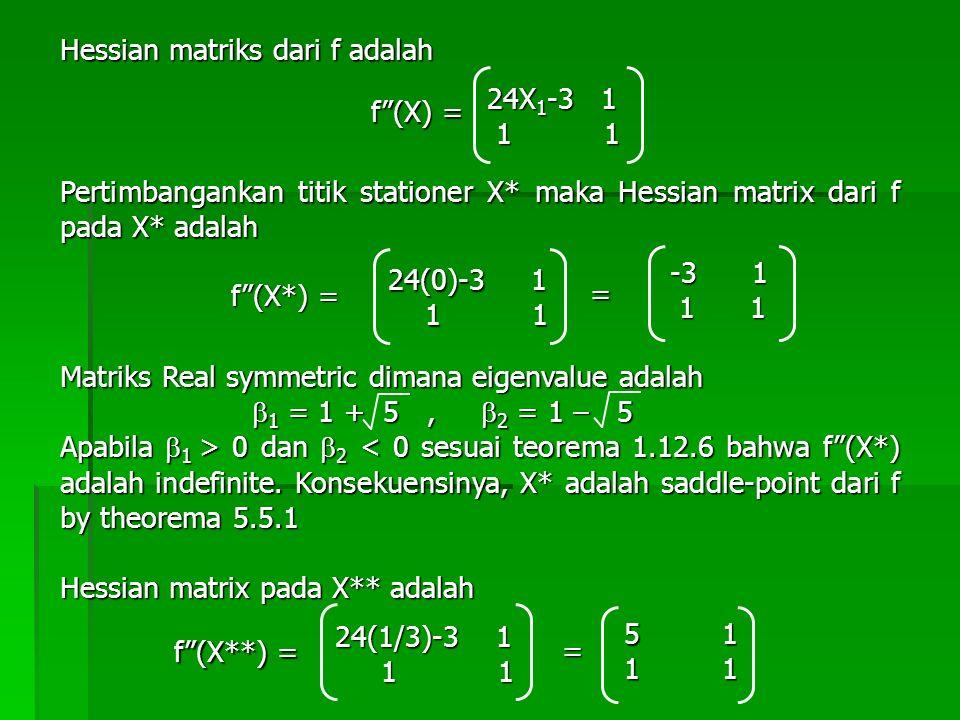Hessian matriks dari f adalah