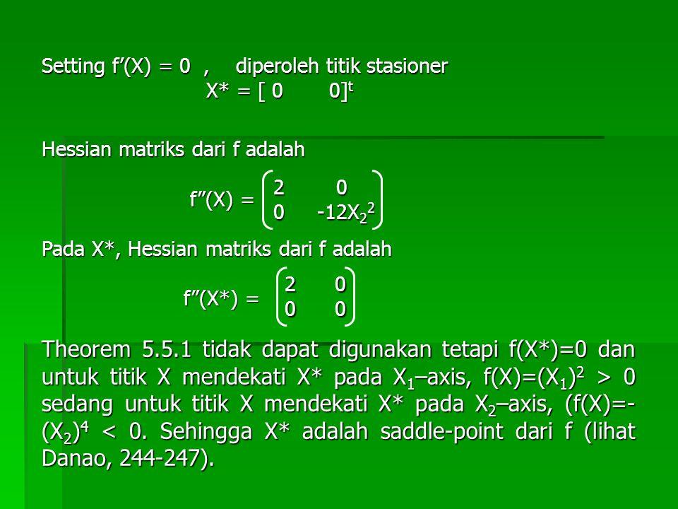 Setting f'(X) = 0 , diperoleh titik stasioner