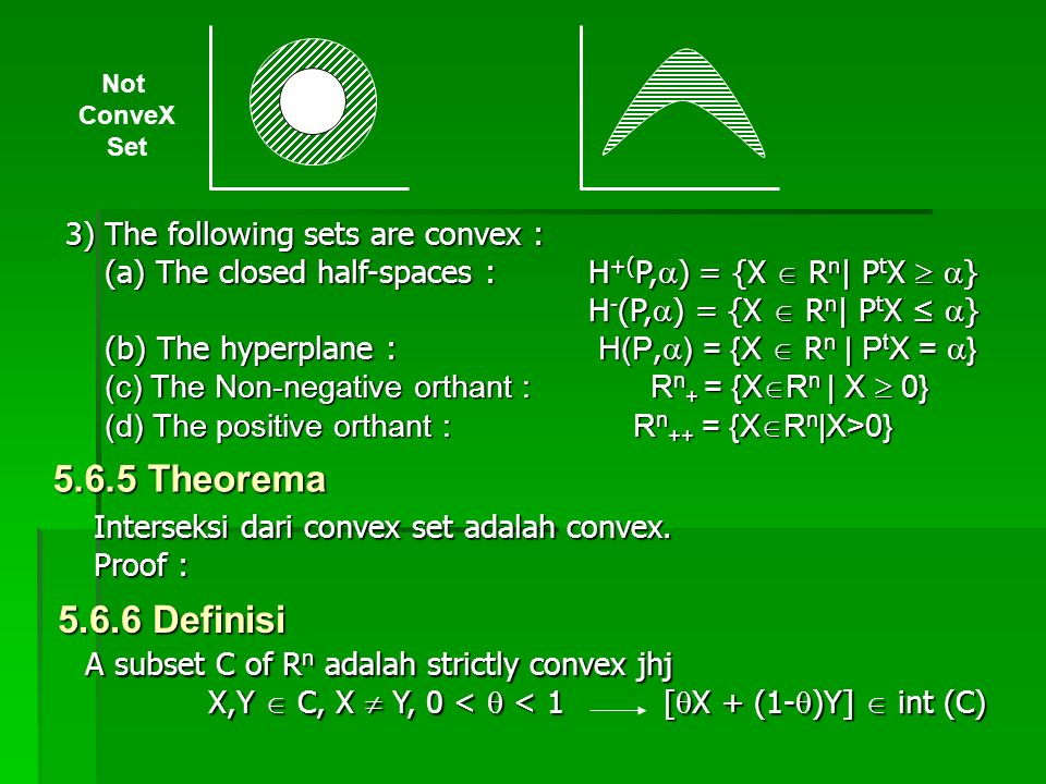 5.6.5 Theorema 5.6.6 Definisi 3) The following sets are convex :