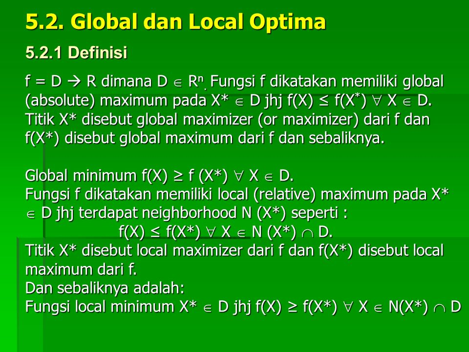 5.2. Global dan Local Optima