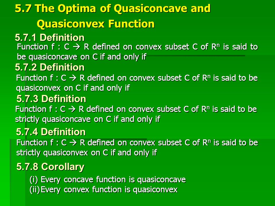 5.7 The Optima of Quasiconcave and Quasiconvex Function