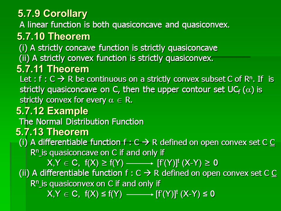 5.7.9 Corollary 5.7.10 Theorem 5.7.11 Theorem 5.7.12 Example