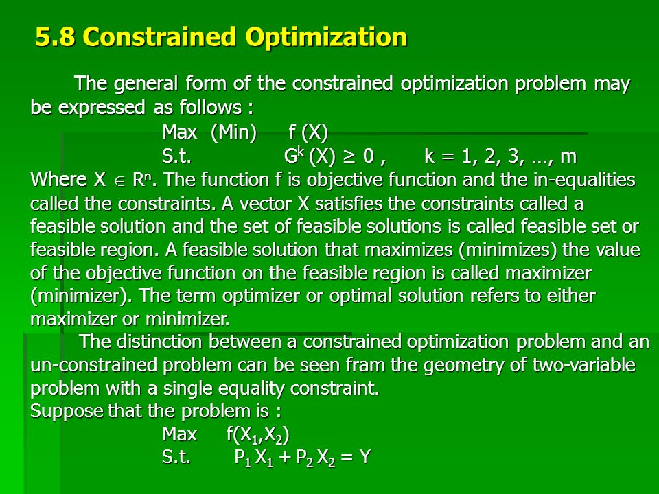 5.8 Constrained Optimization