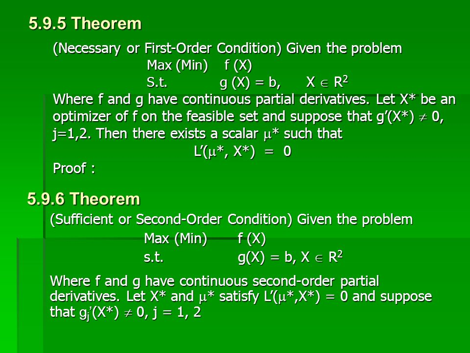 5.9.5 Theorem (Necessary or First-Order Condition) Given the problem. Max (Min) f (X) S.t. g (X) = b, X  R2.