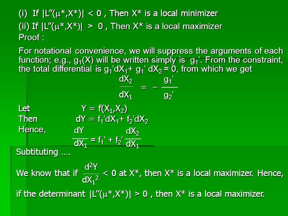 (i) If |L (*,X*)| < 0 , Then X* is a local minimizer