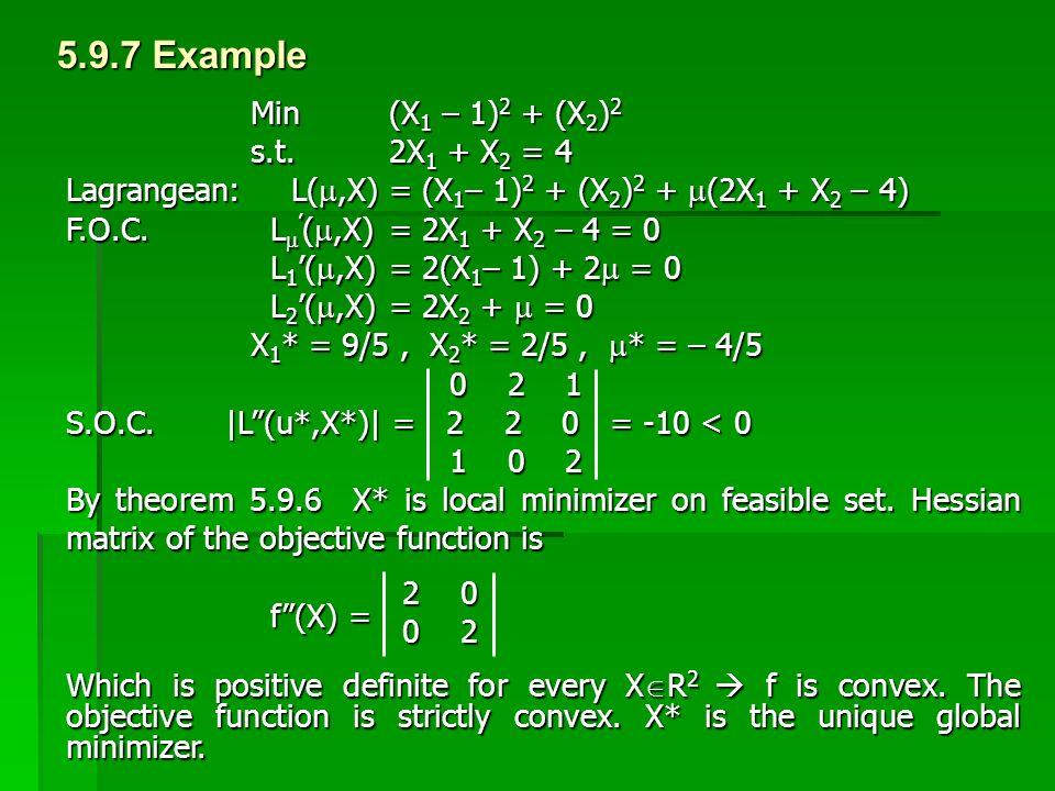 5.9.7 Example Min (X1 – 1)2 + (X2)2 s.t. 2X1 + X2 = 4