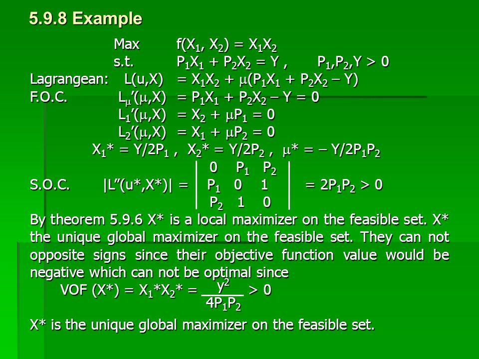 5.9.8 Example Max f(X1, X2) = X1X2. s.t. P1X1 + P2X2 = Y , P1,P2,Y > 0. Lagrangean: L(u,X) = X1X2 + (P1X1 + P2X2 – Y)