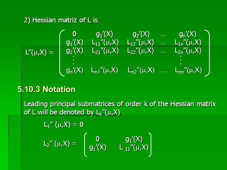 5.10.3 Notation 2) Hessian matriz of L is 0 g1'(X) g2'(X) … gn'(X)
