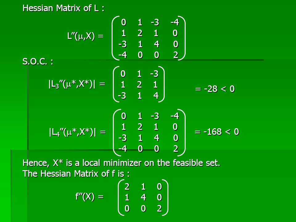 Hessian Matrix of L : 0 1 -3 -4. 1 2 1 0. -3 1 4 0. -4 0 0 2.