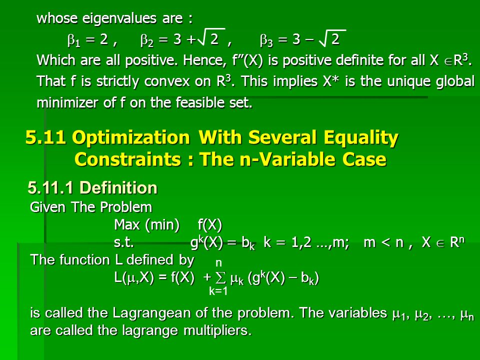 5.11 Optimization With Several Equality