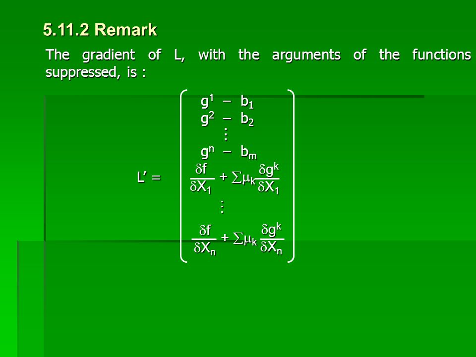 5.11.2 Remark The gradient of L, with the arguments of the functions suppressed, is : g1 – b1. g2 – b2.