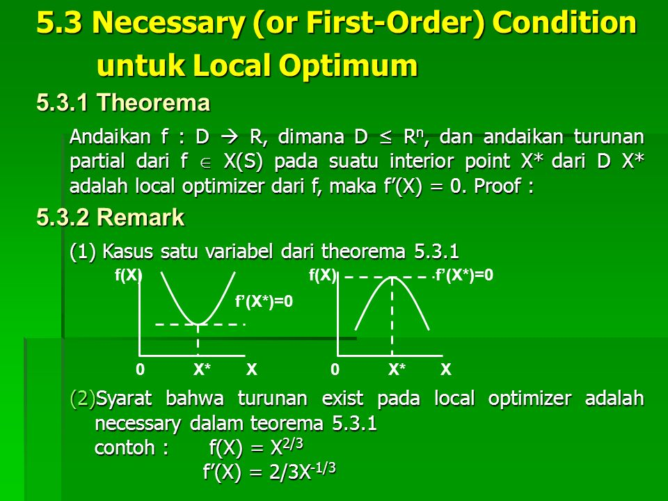 5.3 Necessary (or First-Order) Condition untuk Local Optimum