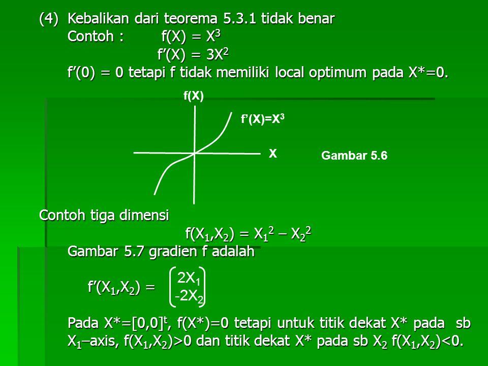(4) Kebalikan dari teorema 5.3.1 tidak benar Contoh : f(X) = X3