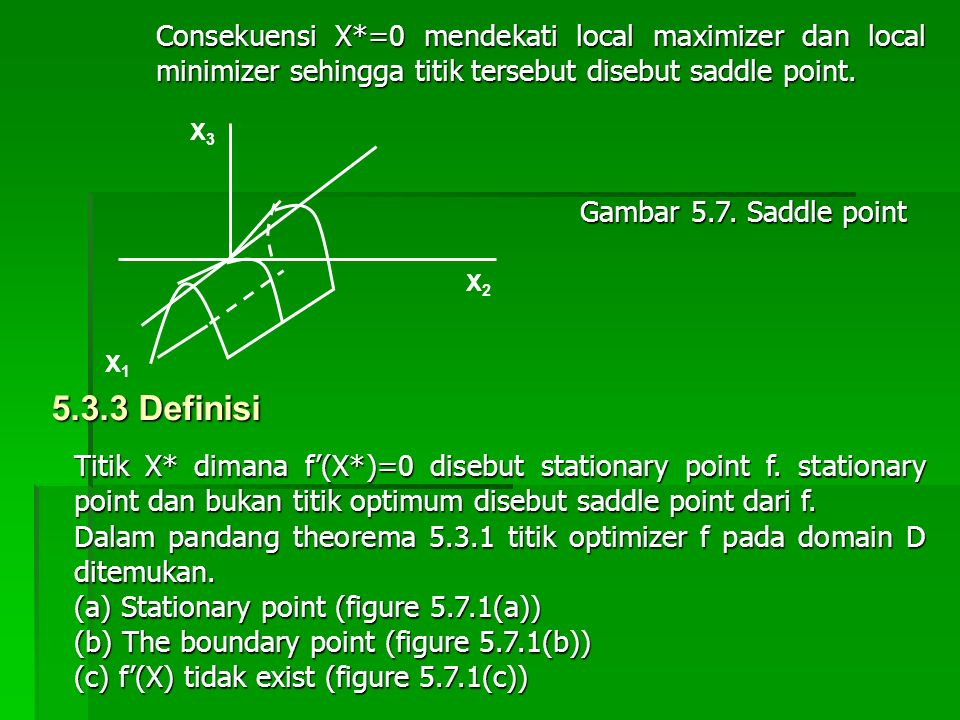 Consekuensi X*=0 mendekati local maximizer dan local minimizer sehingga titik tersebut disebut saddle point.