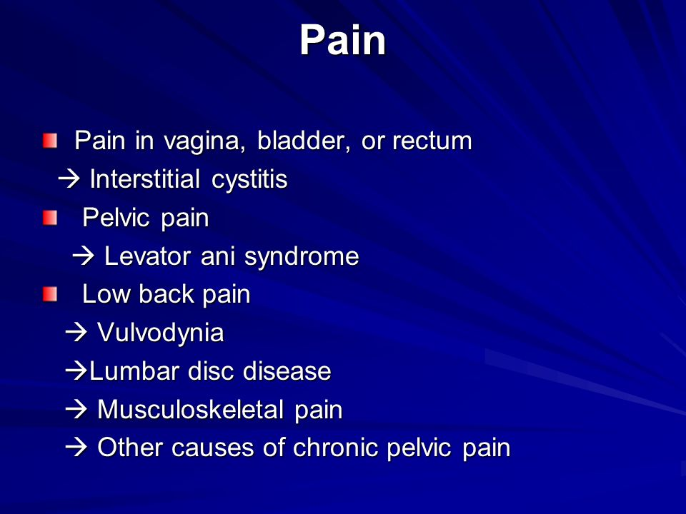Pain Pain in vagina, bladder, or rectum  Interstitial cystitis