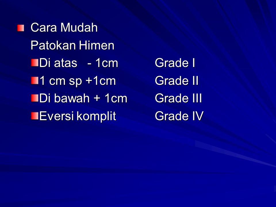 Cara Mudah Patokan Himen. Di atas - 1cm Grade I. 1 cm sp +1cm Grade II. Di bawah + 1cm Grade III.