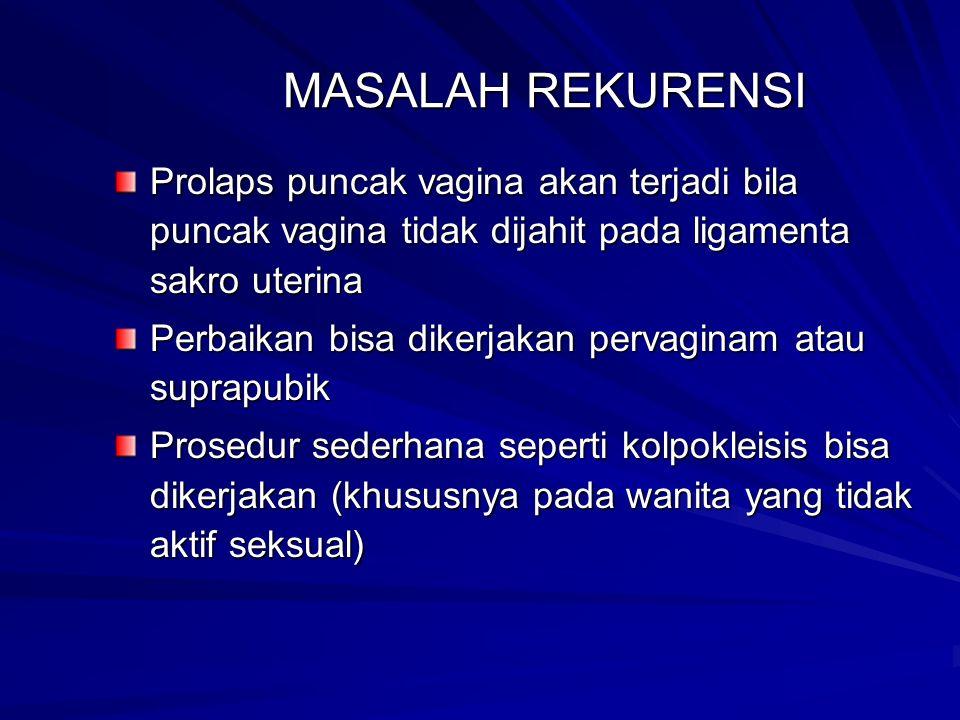 MASALAH REKURENSI Prolaps puncak vagina akan terjadi bila puncak vagina tidak dijahit pada ligamenta sakro uterina.