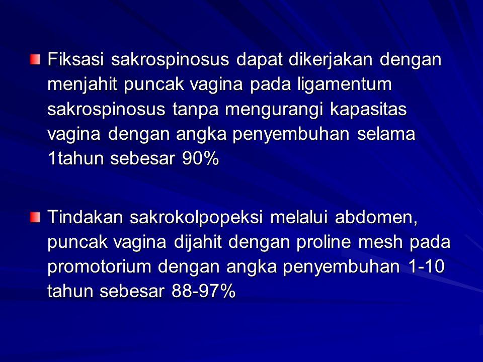 Fiksasi sakrospinosus dapat dikerjakan dengan menjahit puncak vagina pada ligamentum sakrospinosus tanpa mengurangi kapasitas vagina dengan angka penyembuhan selama 1tahun sebesar 90%