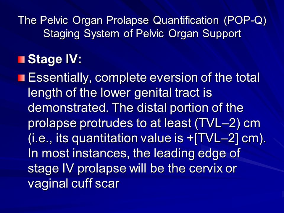 The Pelvic Organ Prolapse Quantification (POP-Q) Staging System of Pelvic Organ Support