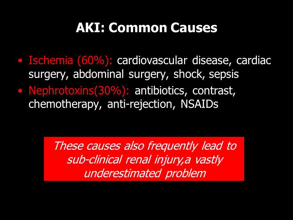 AKI: Common Causes Ischemia (60%): cardiovascular disease, cardiac surgery, abdominal surgery, shock, sepsis.
