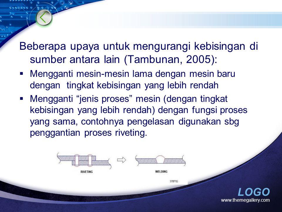 Beberapa upaya untuk mengurangi kebisingan di sumber antara lain (Tambunan, 2005):