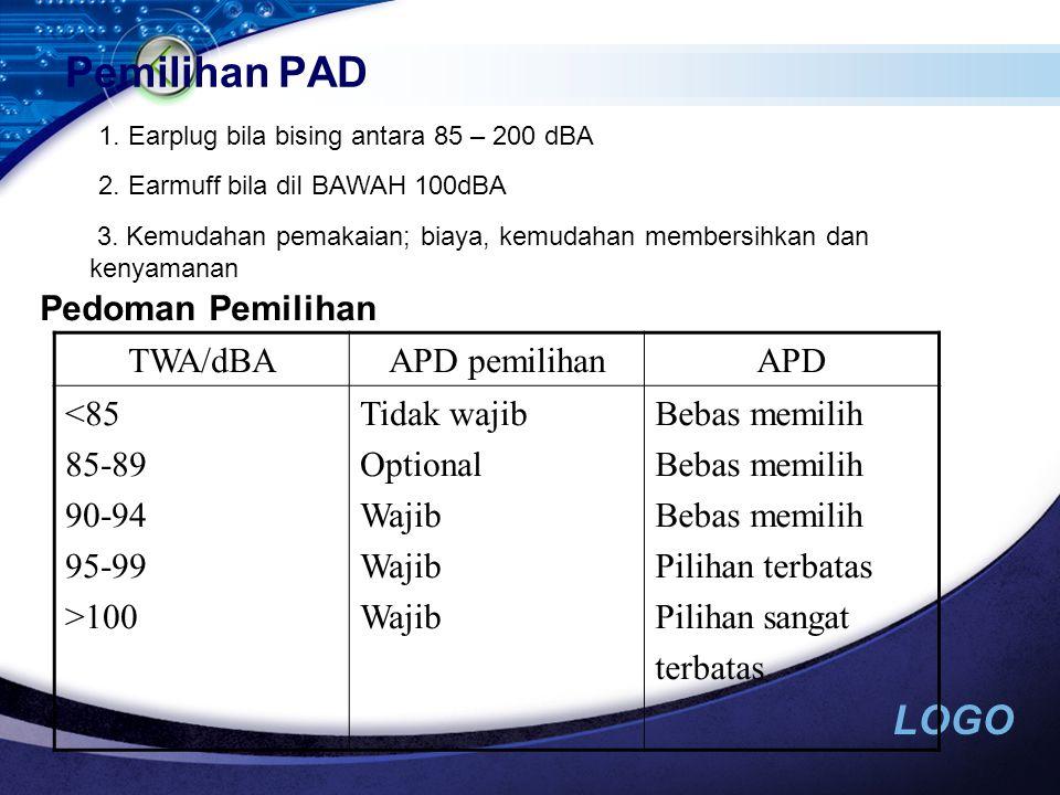 Pemilihan PAD Pedoman Pemilihan TWA/dBA APD pemilihan APD <85 85-89