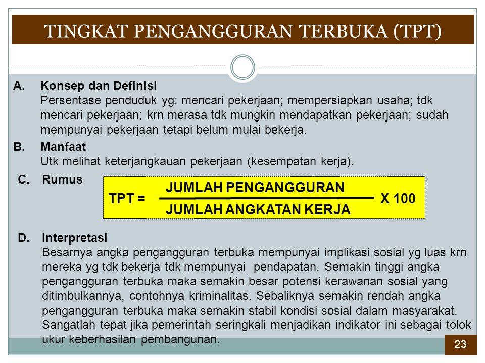 TINGKAT PENGANGGURAN TERBUKA (TPT)