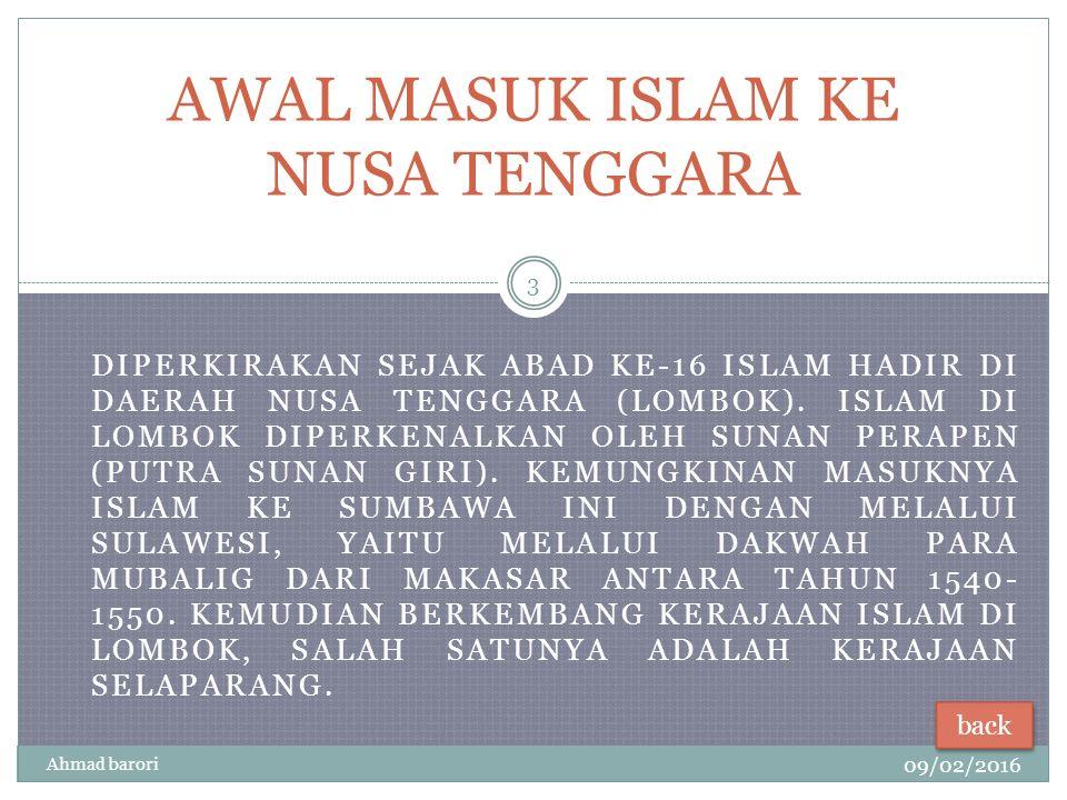 AWAL MASUK ISLAM KE NUSA TENGGARA