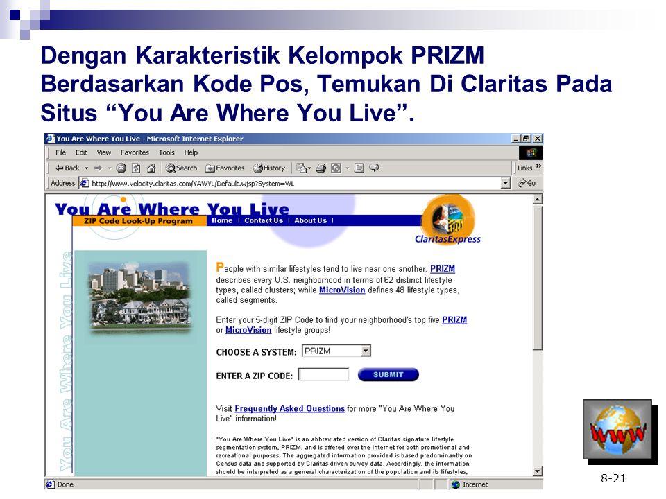 Dengan Karakteristik Kelompok PRIZM Berdasarkan Kode Pos, Temukan Di Claritas Pada Situs You Are Where You Live .