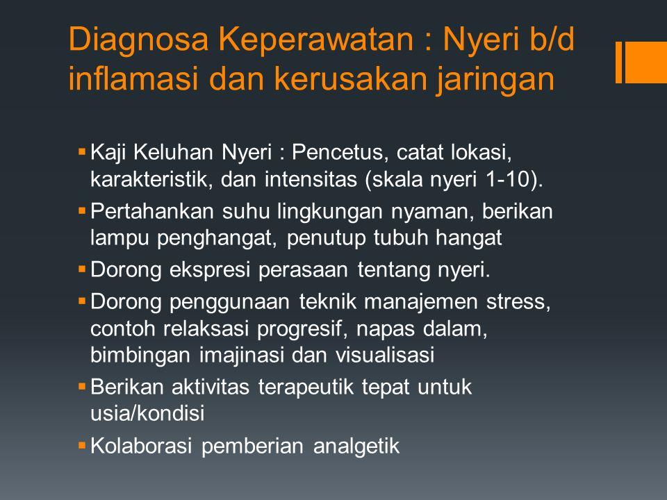 Diagnosa Keperawatan : Nyeri b/d inflamasi dan kerusakan jaringan