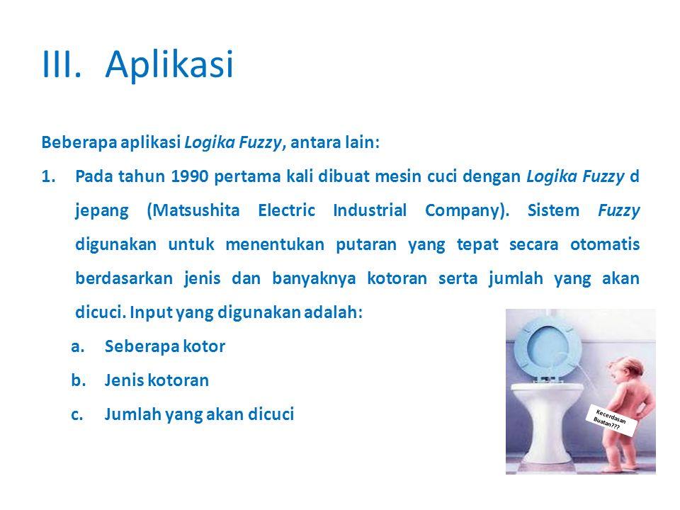 Aplikasi Beberapa aplikasi Logika Fuzzy, antara lain: