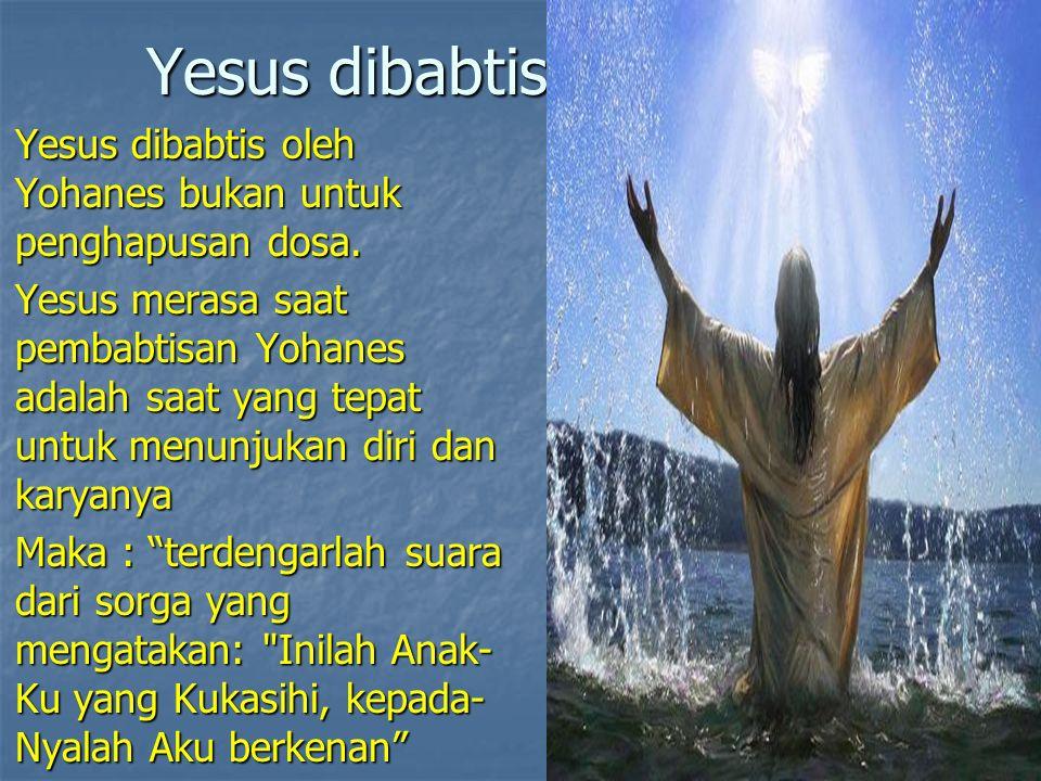 Yesus dibabtis Yesus dibabtis oleh Yohanes bukan untuk penghapusan dosa.