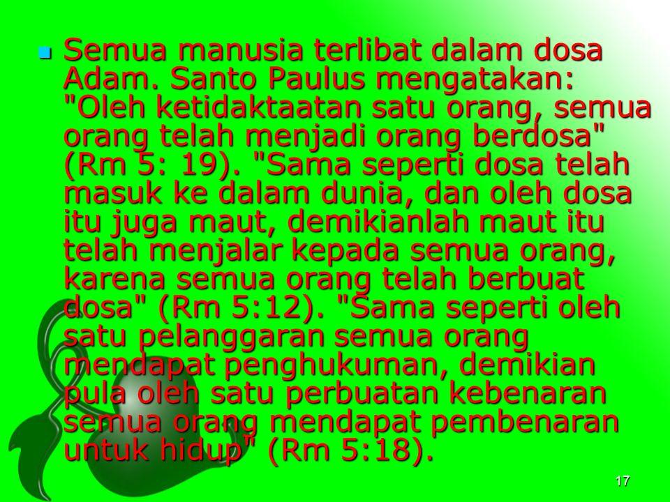 Semua manusia terlibat dalam dosa Adam