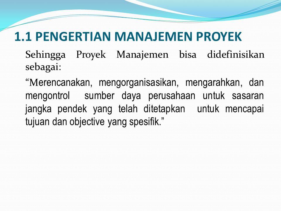 1.1 PENGERTIAN MANAJEMEN PROYEK