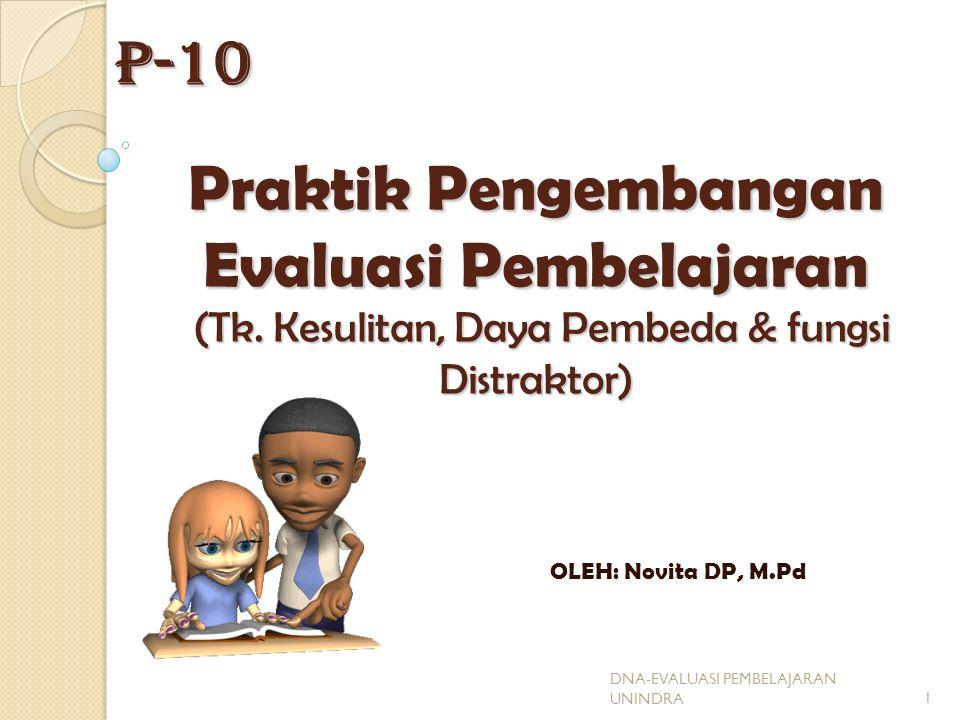 P-10 Praktik Pengembangan Evaluasi Pembelajaran (Tk. Kesulitan, Daya Pembeda & fungsi Distraktor)