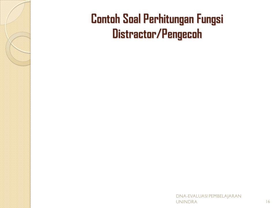 Contoh Soal Perhitungan Fungsi Distractor/Pengecoh