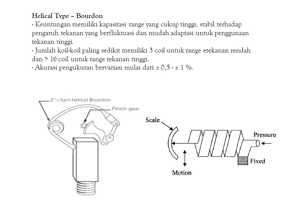 Helical Type – Bourdon - Keuntungan memiliki kapasitasi range yang cukup tinggi, stabil terhadap.