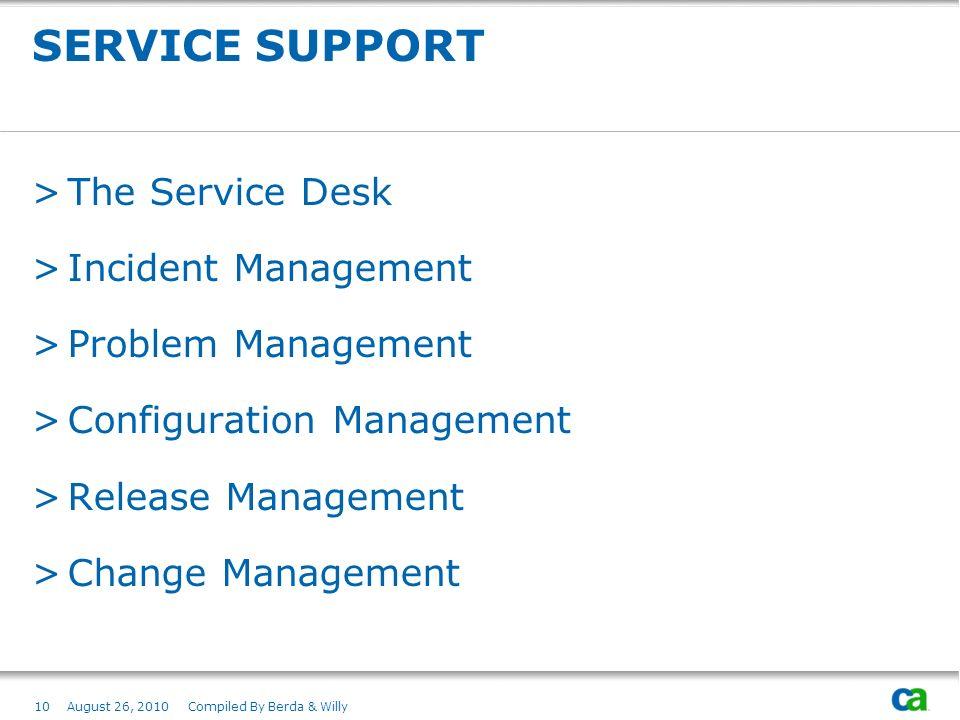 SERVICE SUPPORT The Service Desk Incident Management