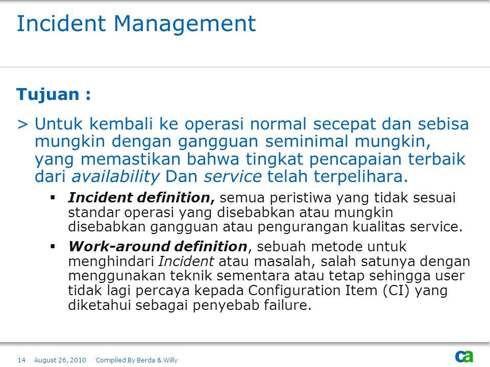 Incident Management Tujuan :