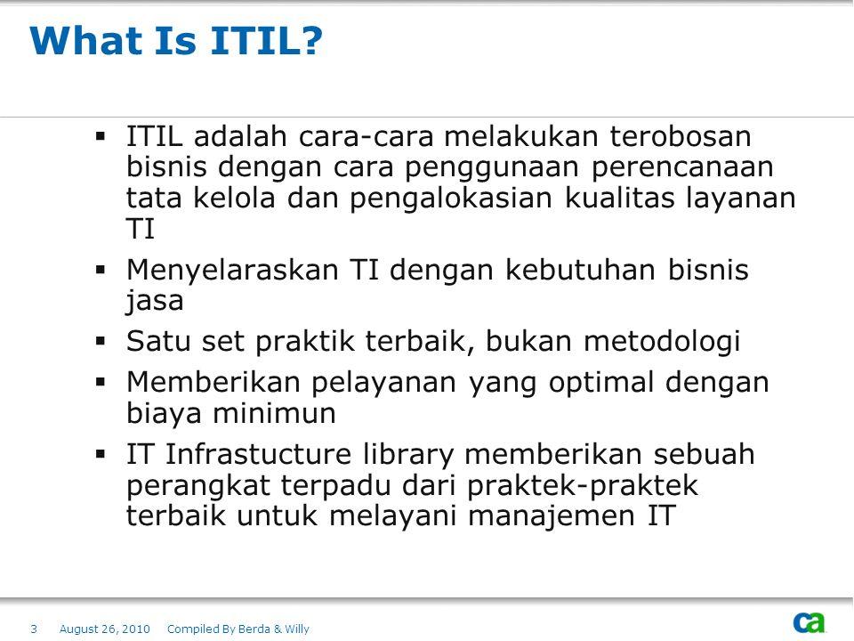 What Is ITIL ITIL adalah cara-cara melakukan terobosan bisnis dengan cara penggunaan perencanaan tata kelola dan pengalokasian kualitas layanan TI.