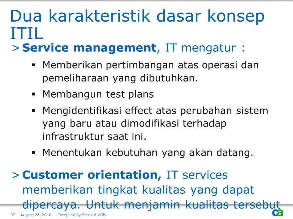 Dua karakteristik dasar konsep ITIL