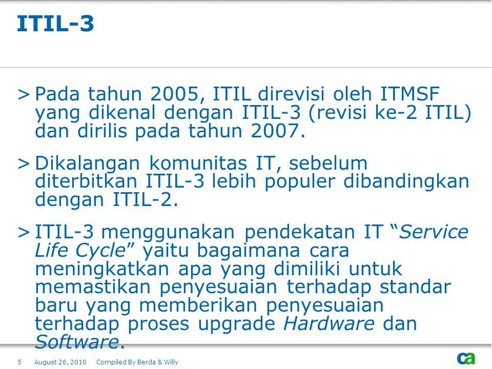 ITIL-3 Pada tahun 2005, ITIL direvisi oleh ITMSF yang dikenal dengan ITIL-3 (revisi ke-2 ITIL) dan dirilis pada tahun 2007.