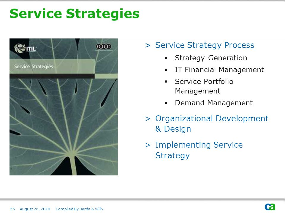 Service Strategies Service Strategy Process