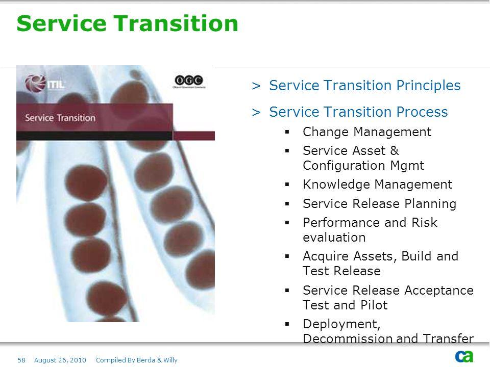Service Transition Service Transition Principles