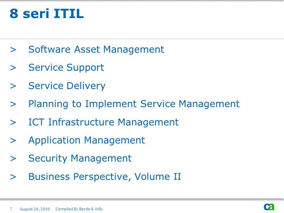 8 seri ITIL Software Asset Management Service Support Service Delivery